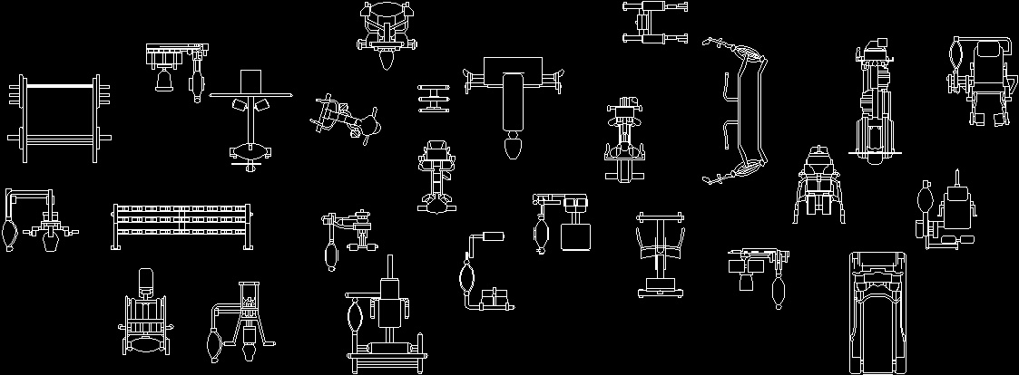 Fitness equipment furniture dwg block for autocad