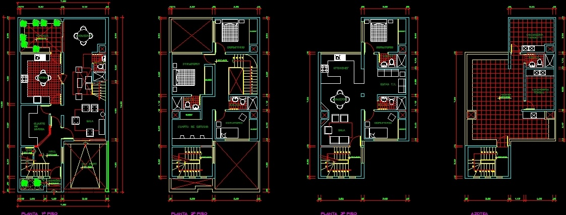 Flat Roof House 2 Levels DWG Block for AutoCAD • Designs CAD