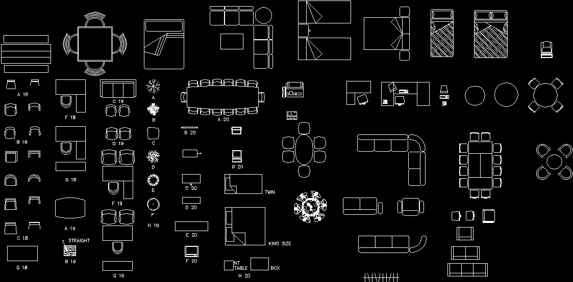Furniture Equipments Top Views Dwg Block For Autocad