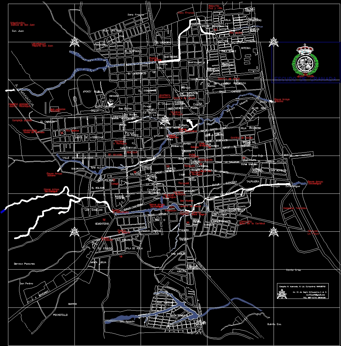 Granada city map dwg block for autocad designs cad file type dwg gumiabroncs Image collections