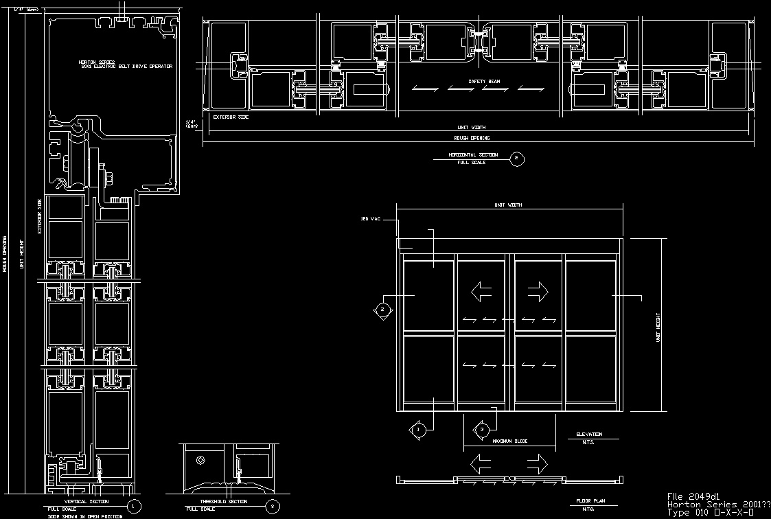 Horton Automatic Sliding Door Dwg Block For Autocad