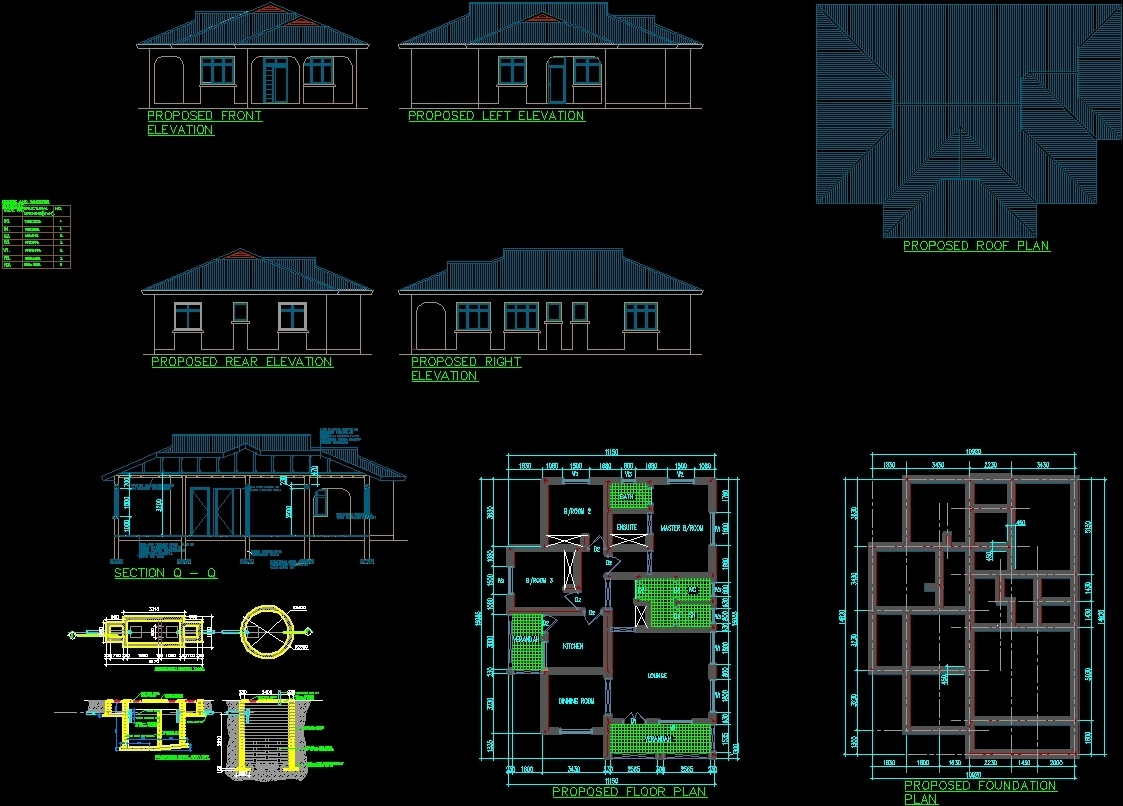 House Plan Three Bedroom Dwg Plan For Autocad Designs Cad