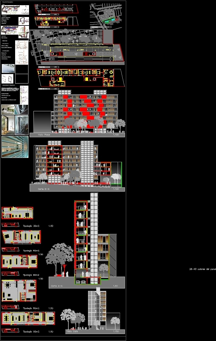 Housing apartment building with changing faccade dwg full for Apartment design autocad