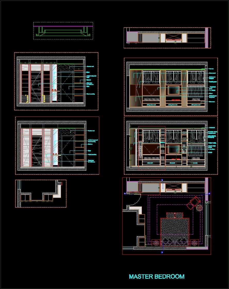 Master Bedroom Dwg Elevation For Autocad Designs Cad