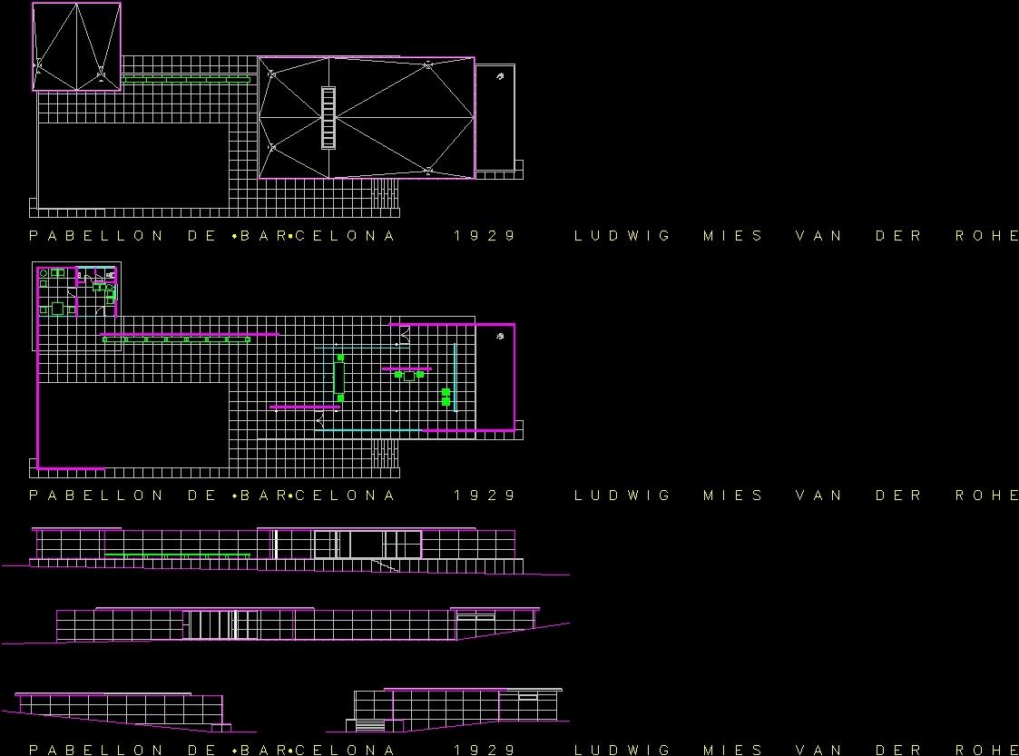 Mies Van Der Rohe Pavilion In Barcelona Dwg Block For Autocad  # Muebles Mies Van Der Rohe Autocad
