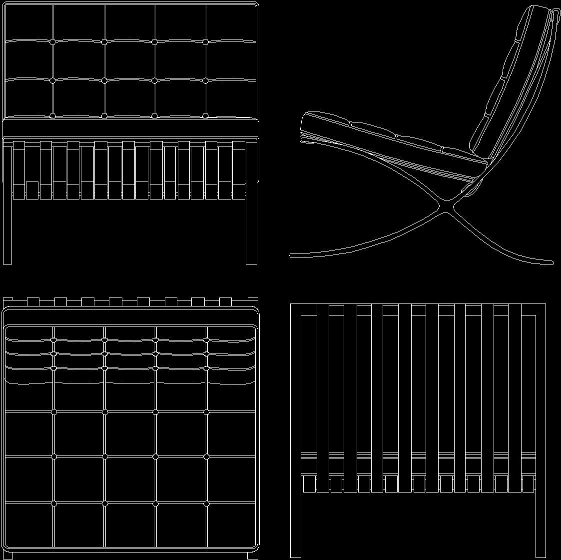 Mies Van Der Rohe The Barcelona Chair Dwg Block For Autocad  # Muebles Mies Van Der Rohe Autocad