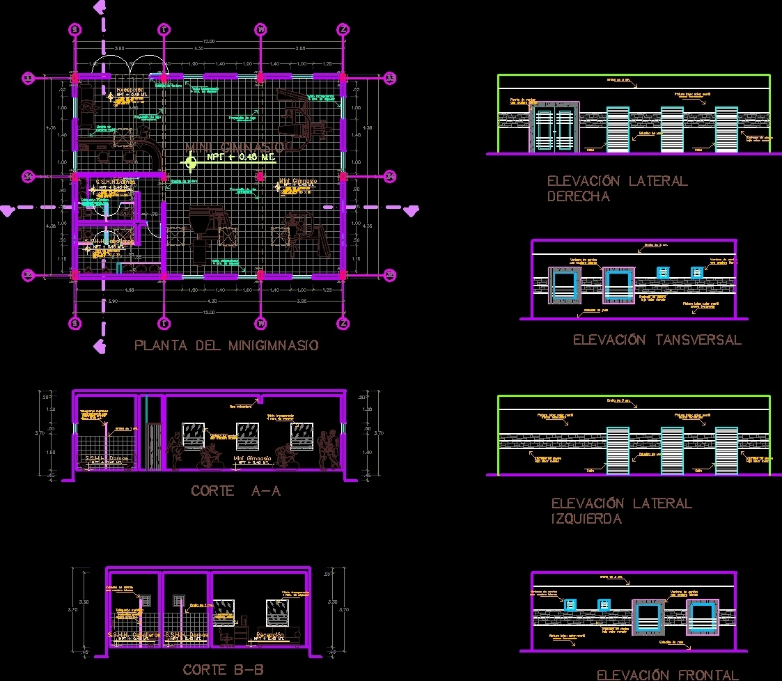 Mini Gym For Country Club Dwg Plan For Autocad Designs Cad # Muebles Gimnasio Dwg