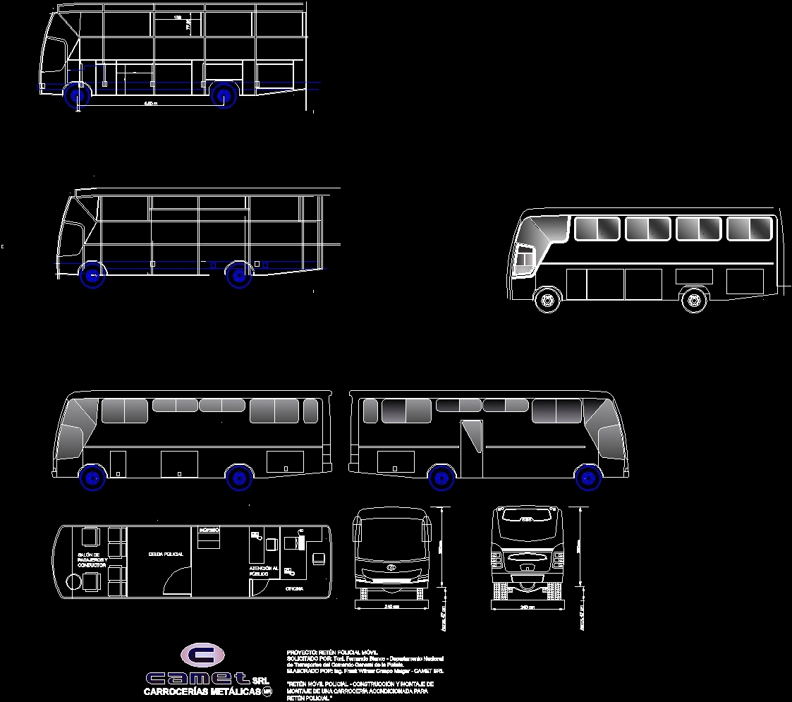 mobil police bus mfg by camet co bolivia dwg block for autocad