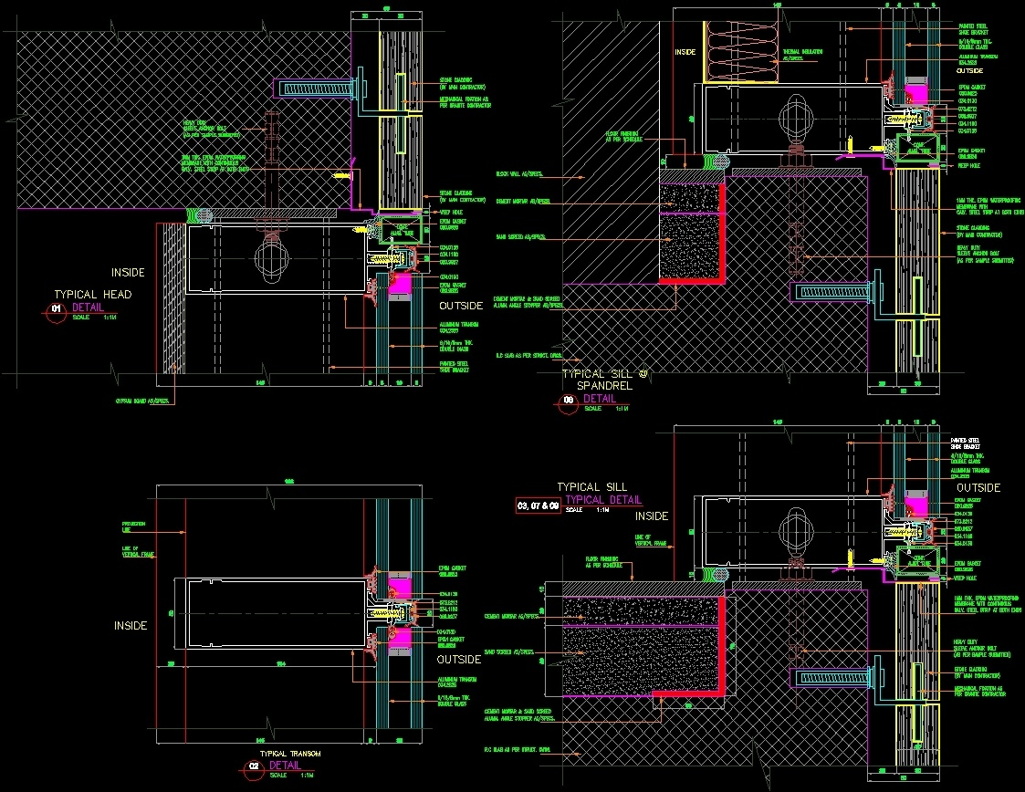 Mullion And Marble Fixation Dwg Block For Autocad