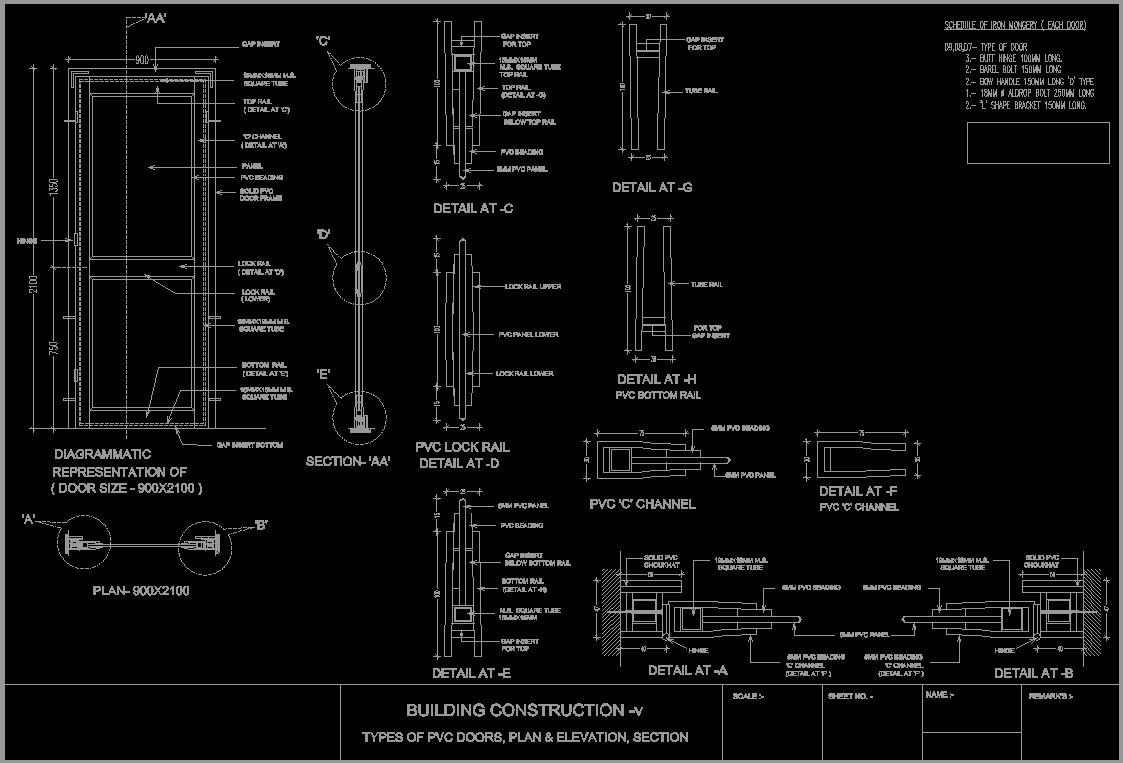 Pvc Door Detail Dwg Detail For Autocad Designs Cad