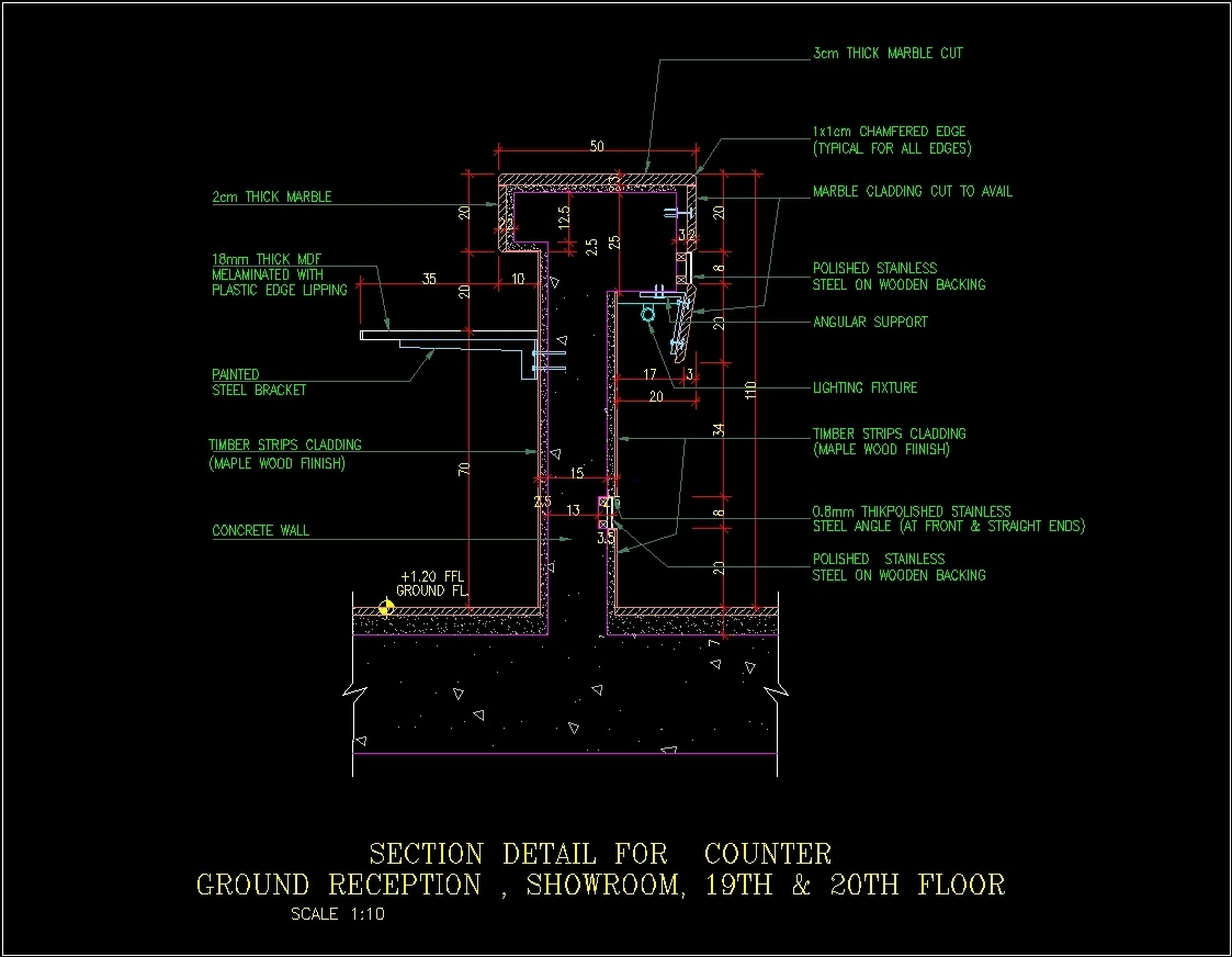 Reception Counter Section Details Dwg Section For