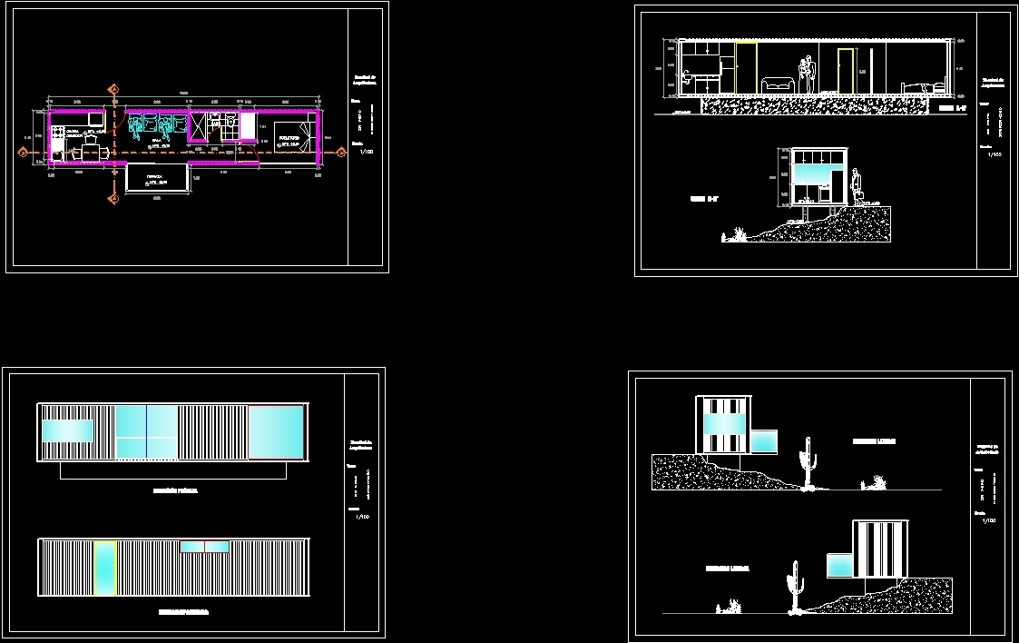 Recycled Ocean Container Housing Dwg Plan For Autocad