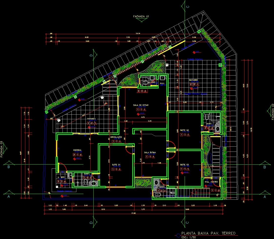 Residential house dwg section for autocad designs cad for Cad house