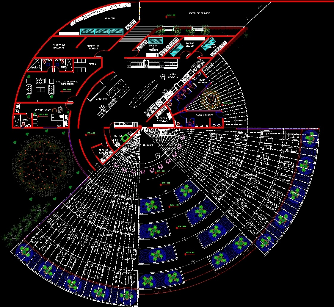 Restaurant Circular DWG Block For AutoCAD • Designs CAD