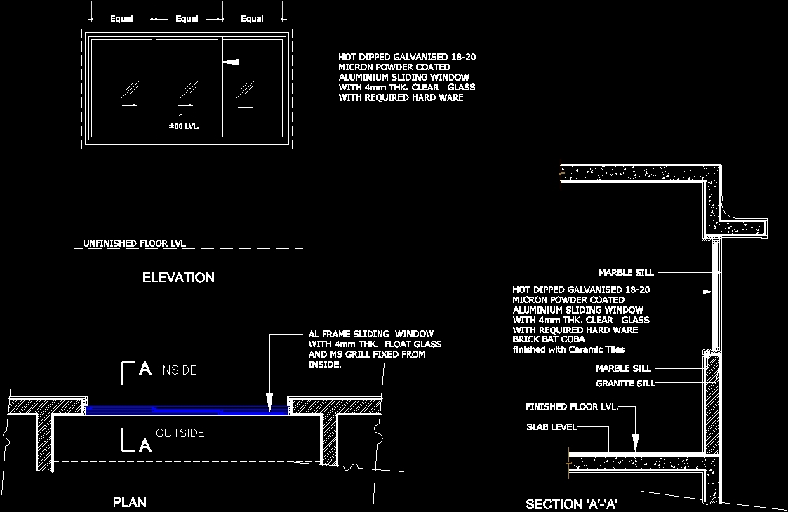 Sliding Window Dwg Plan For Autocad Designs Cad
