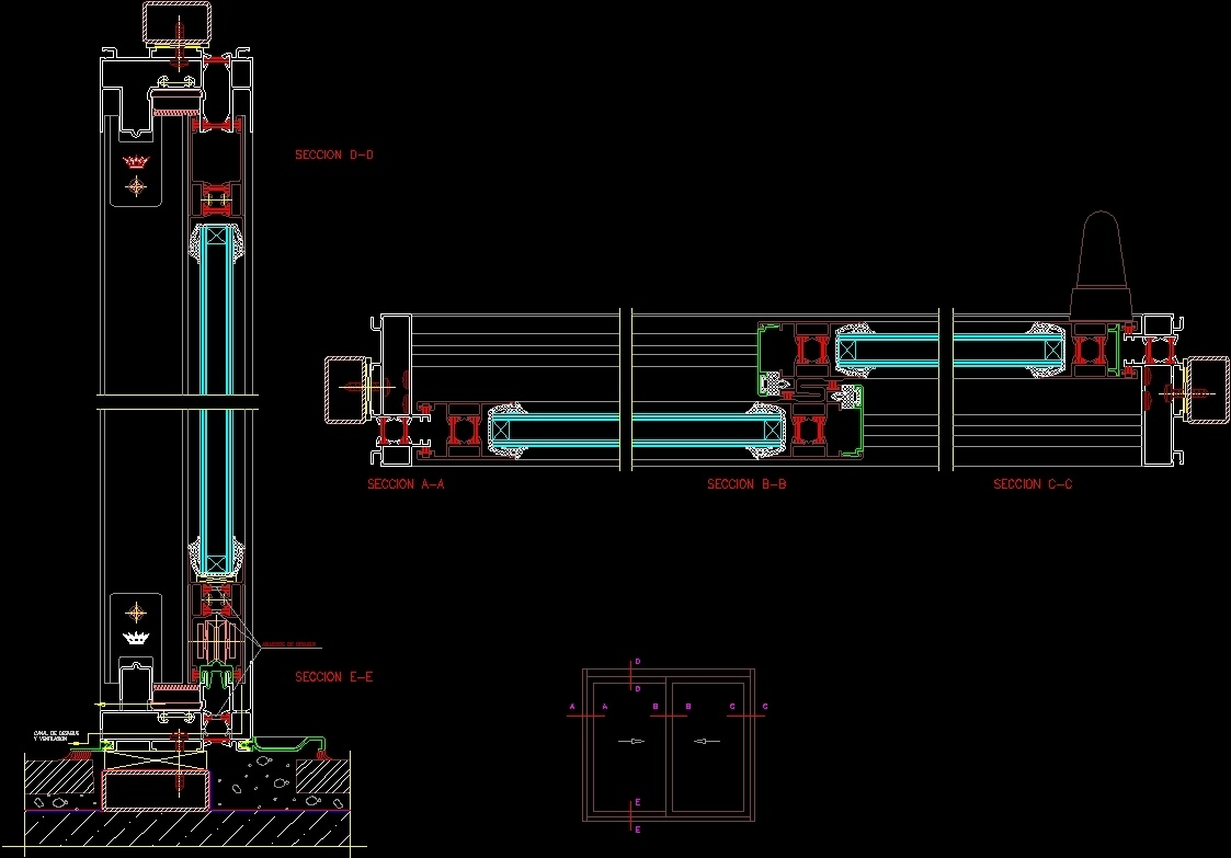 Sliding Window Dwg Section For Autocad Designs Cad