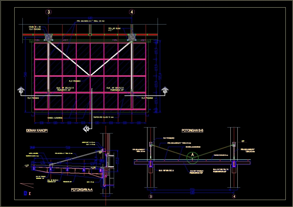 Additional Screenshots  sc 1 st  DesignsCAD.com & Steel Canopy - Detail With Tempered Glass DWG Detail for AutoCAD ...