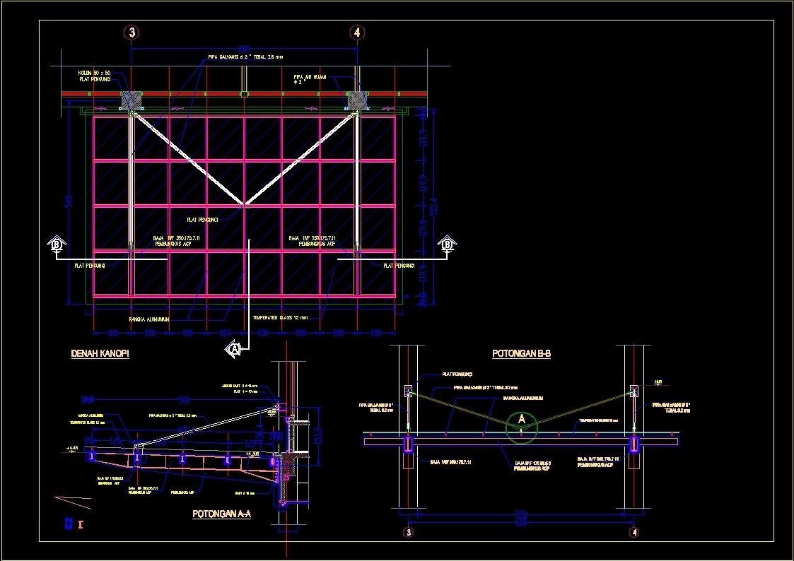 126+ Gambar Desain Kanopi Dwg Paling Keren
