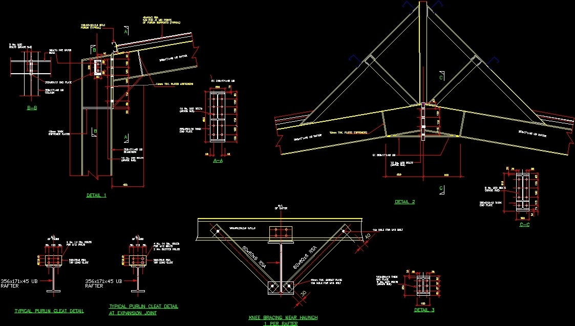 Structural Steel Portal Frame Connection DWG Detail for AutoCAD ...