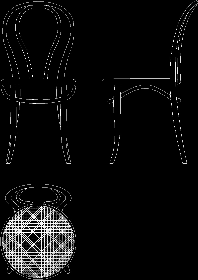Thonet Arm Chair No 18 1876 Dwg Block For Autocad