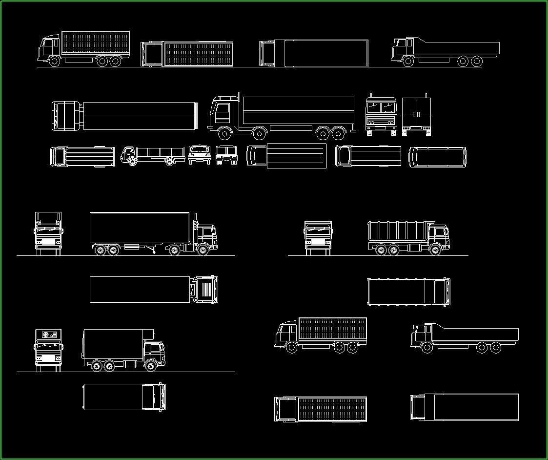 Trucks - - Garbage Service, Tractors DWG Block for AutoCAD • Designs CAD
