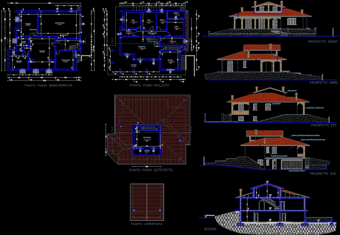 Villa project dwg full project for autocad designs cad - Letto dwg prospetto ...