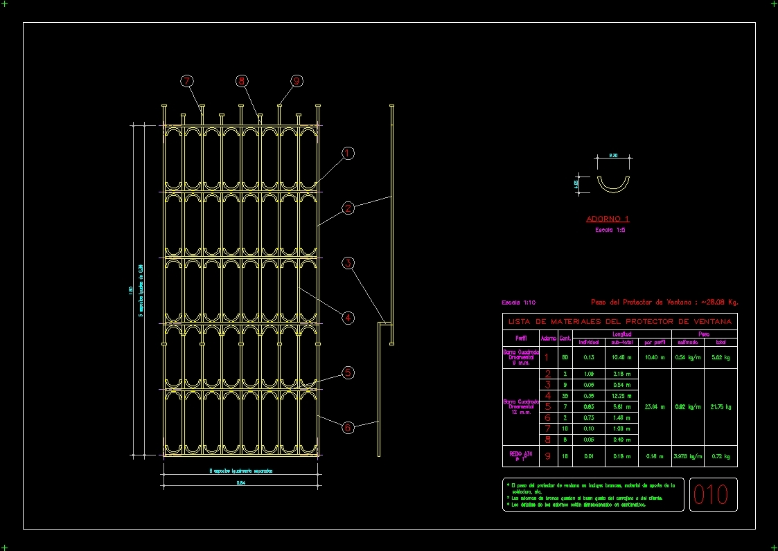 Window Forged Grill DWG Detail for AutoCAD