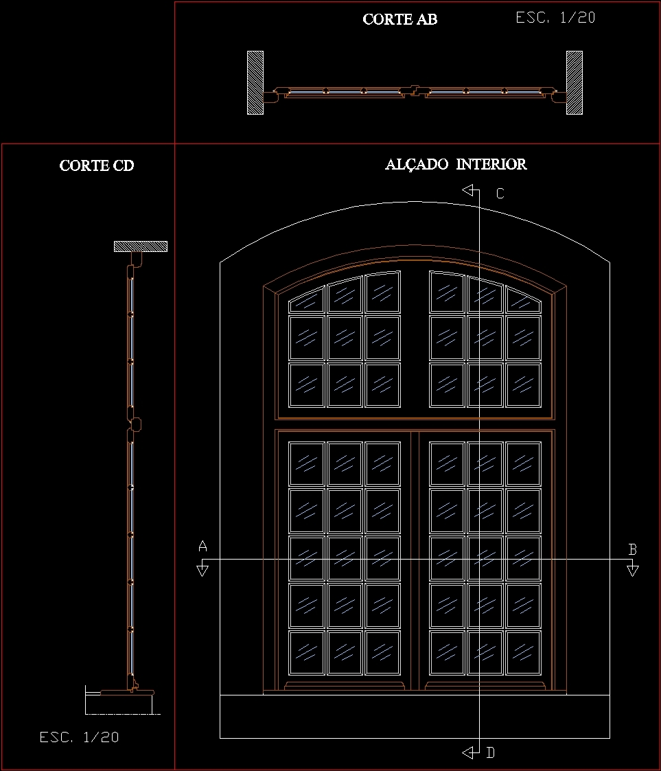 Wooden Door Elevation And Sections Dwg Section For