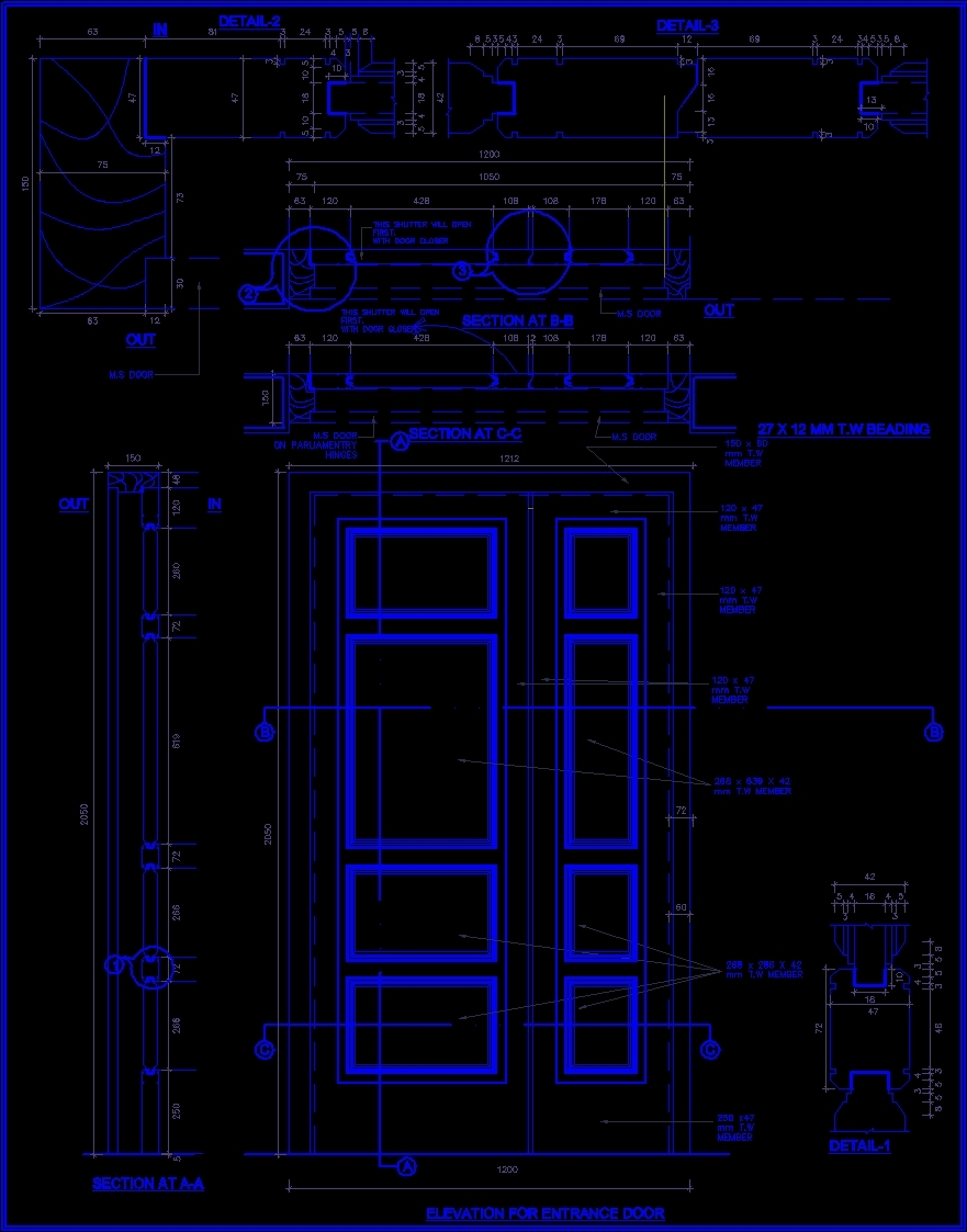 Wooden Door Detail DWG Detail for AutoCAD