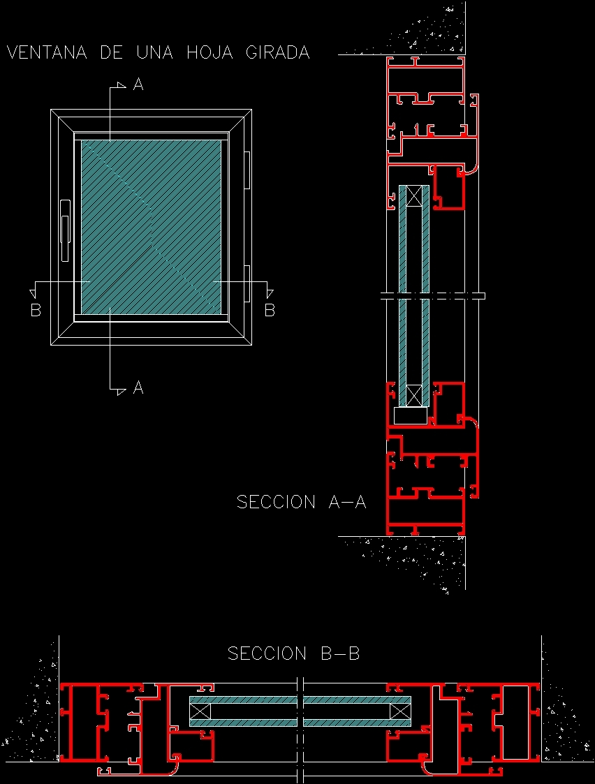 Wooden window dwg section for autocad designs cad for Window design cad