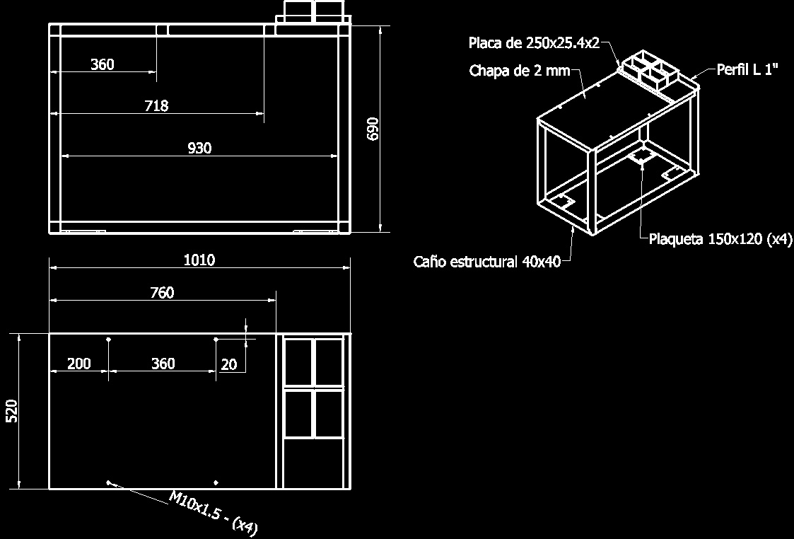 Work Table With Plates For Wheels DWG Block for AutoCAD ...