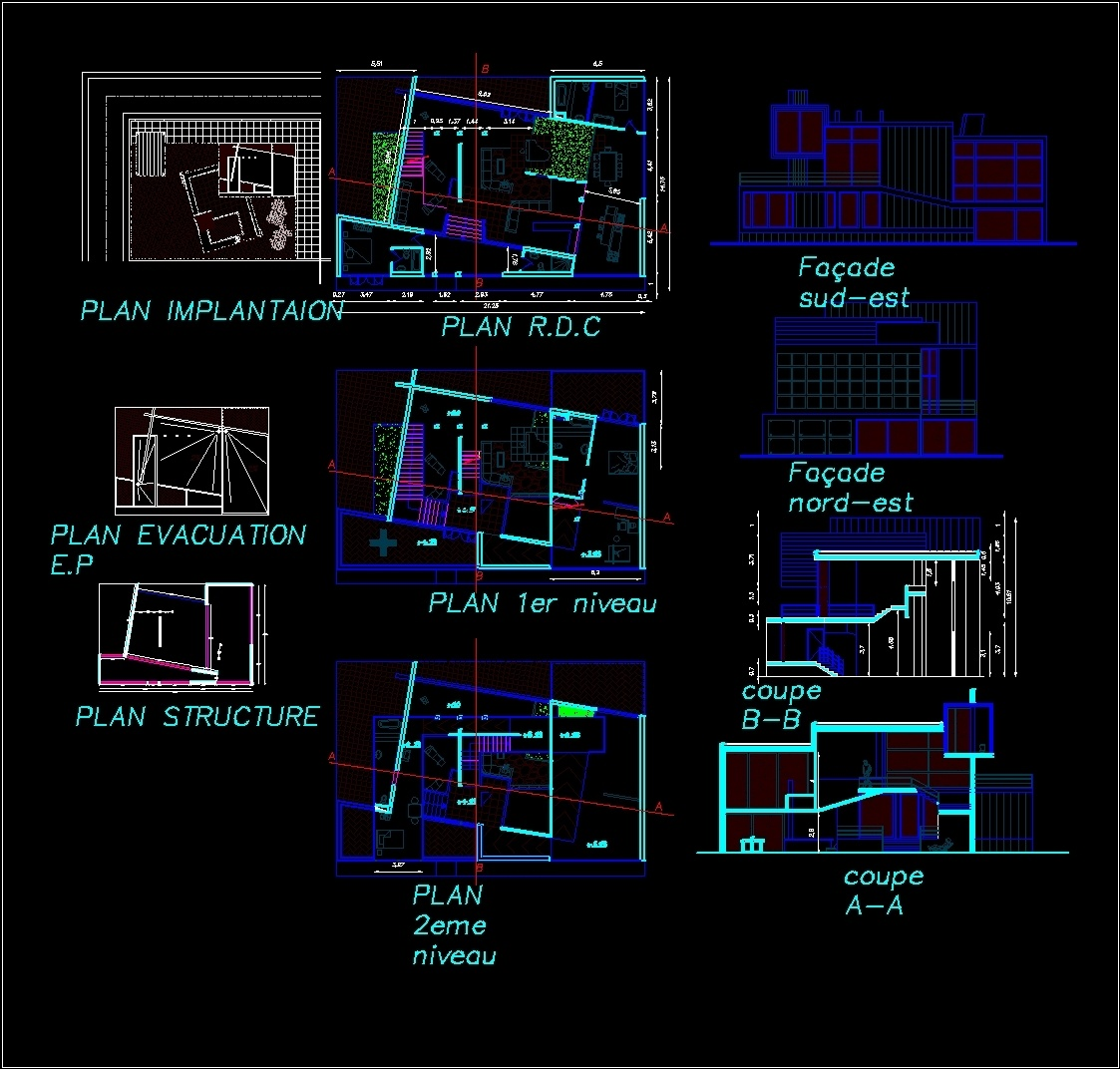 One Family Housing Villa 3 Levels Dwg Section For Autocad Designs Cad