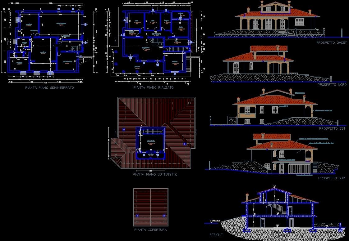 Villa dwg plan for autocad designs cad for Villa plan dwg
