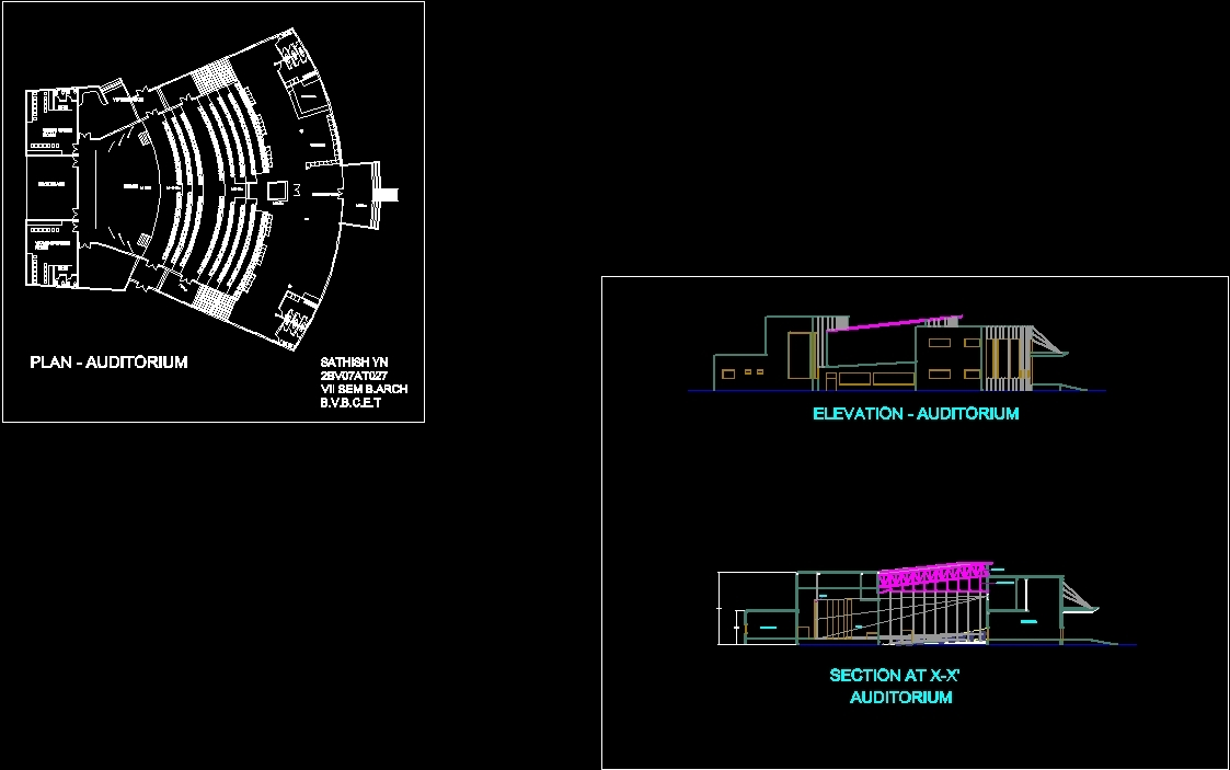 Auditorium Dwg Section For Autocad Designs Cad