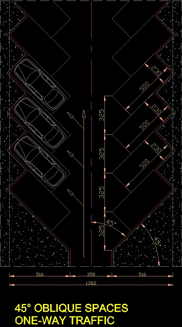 Car Parking 45 Degree DWG Detail for AutoCAD