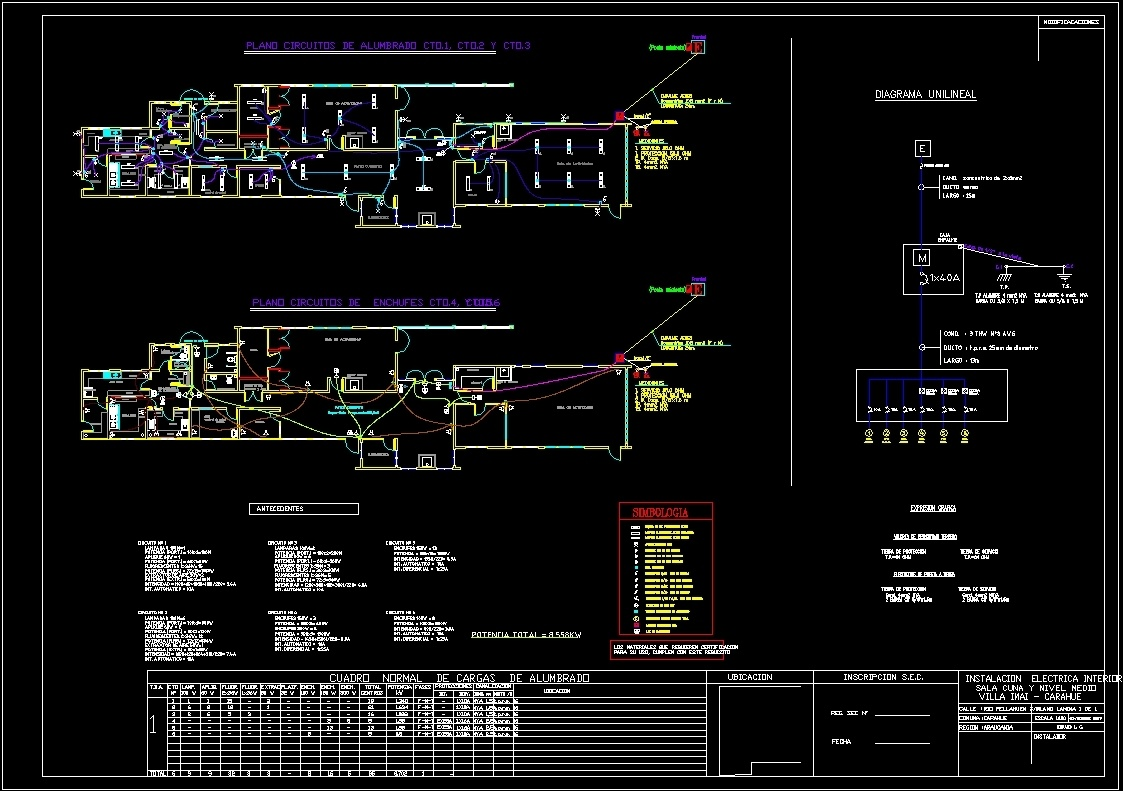 Circuito Unilineal : Electrical plan for kindergarten to chilean regulations dwg plan for