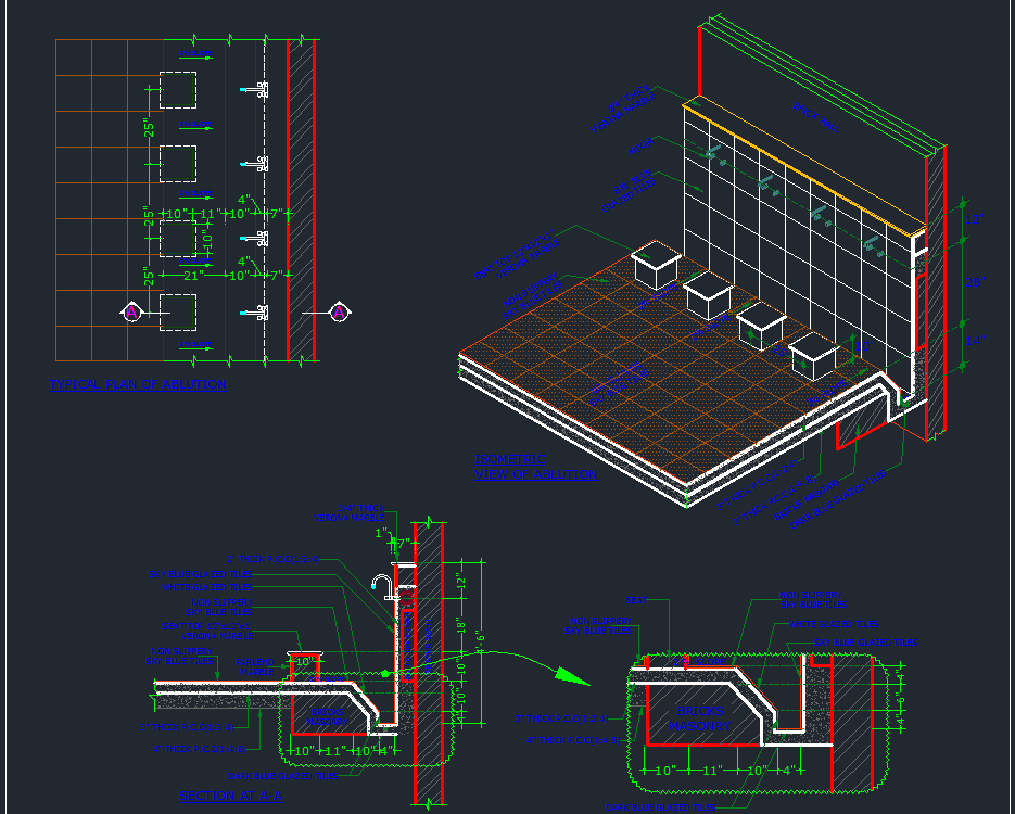 ablution area detail designs cad