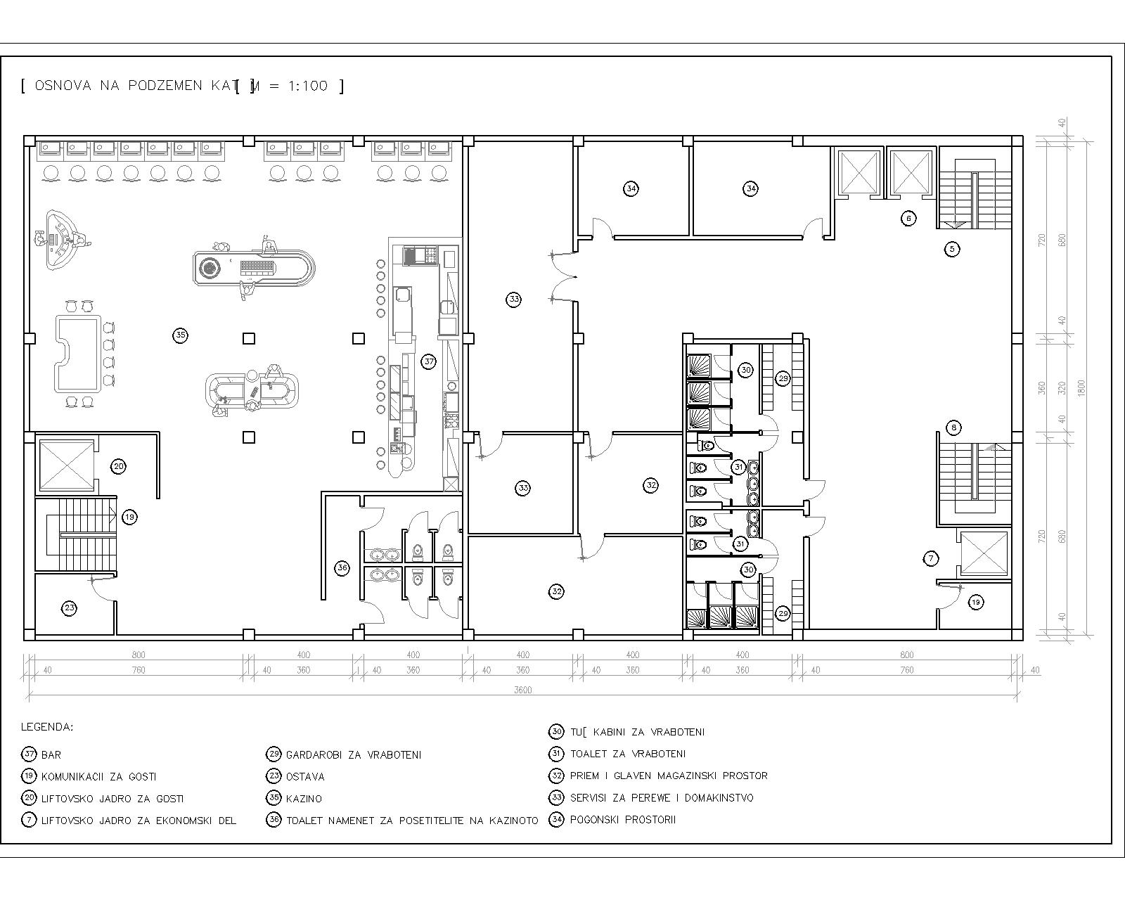 hotel plan including reception  restaurant  pool  u0026 bar