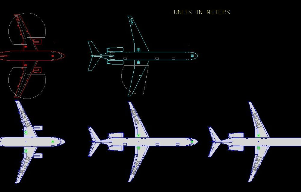 Aeroplanes MD-83, Md-81, and A319 Plans 2D DWG Block For AutoCAD