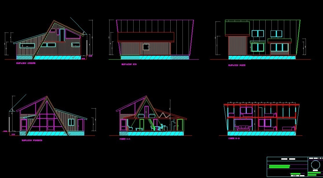 modern wooden house 2d dwg full project for autocad
