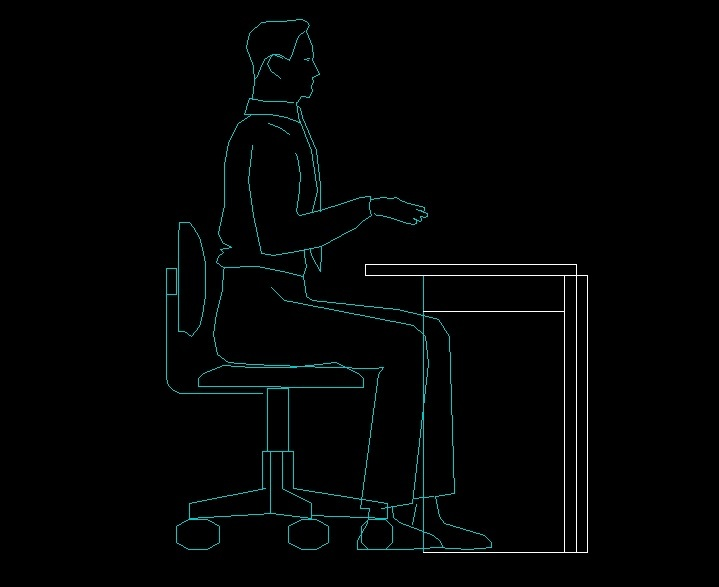 Man Sitting At A Desk Human Figure Side View Elevation 2d