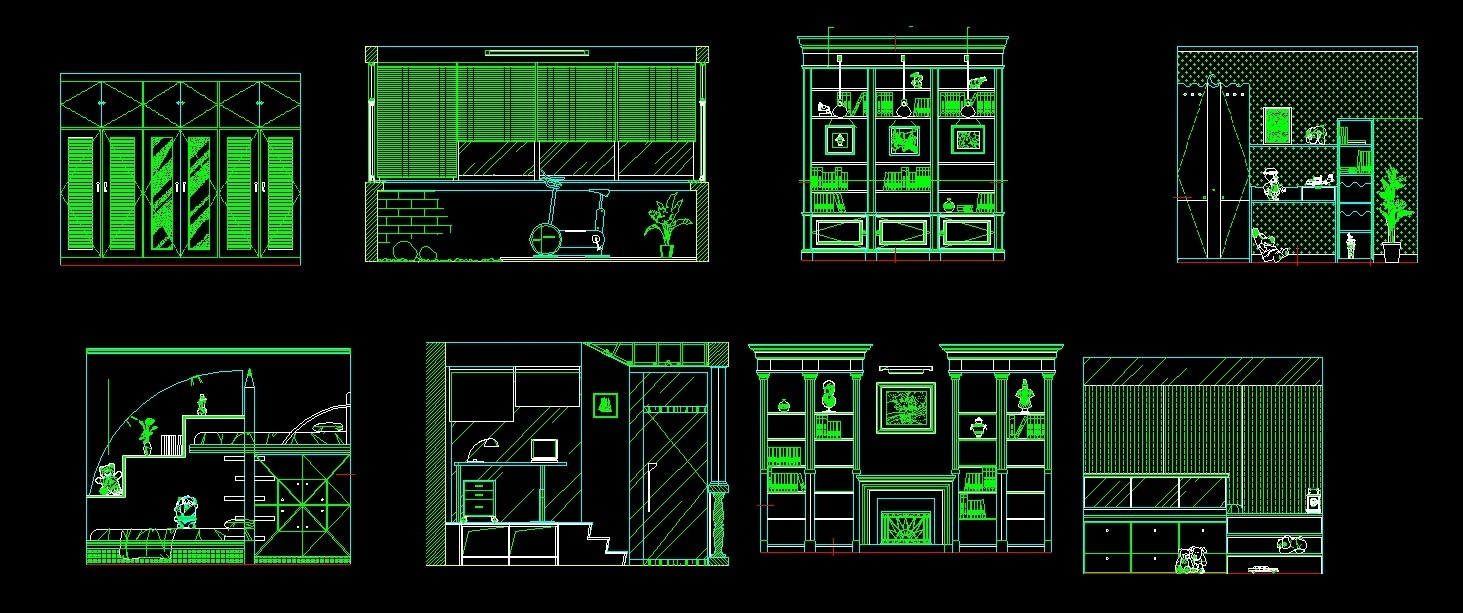 Front Elevation Autocad 2d : Cabinets for living room study and kitchen front elevation