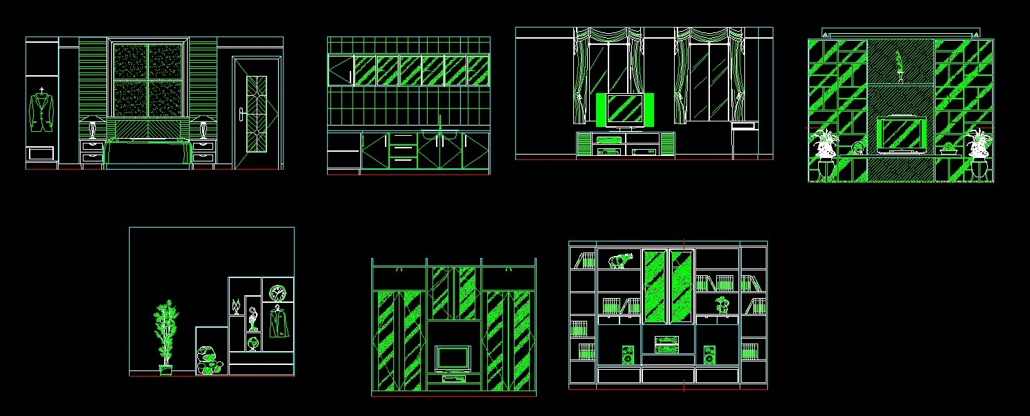 Front Elevation Of Drawing Room : Cabinets for living room study and kitchen front elevation