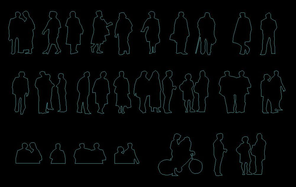 People Silhouette Men And Women Human Figures Front