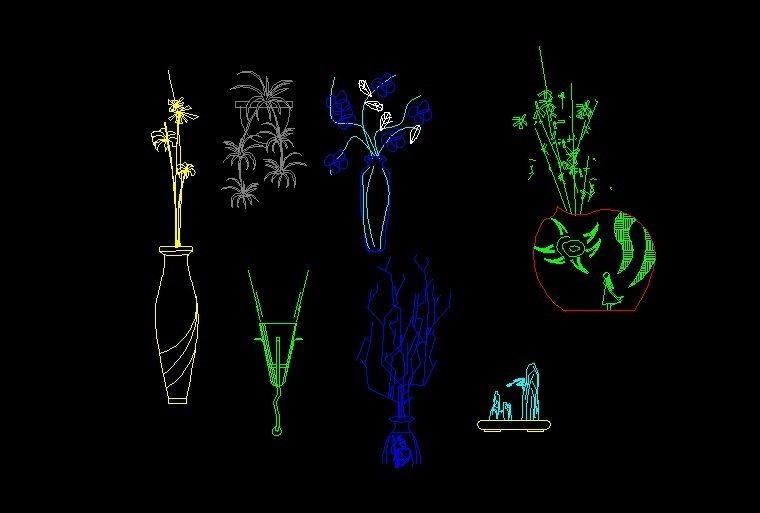 Decoration Flowers In Vase Plants Front View Elevation 2d