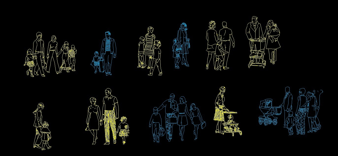 People Men And Women Families With Kids Human Figures