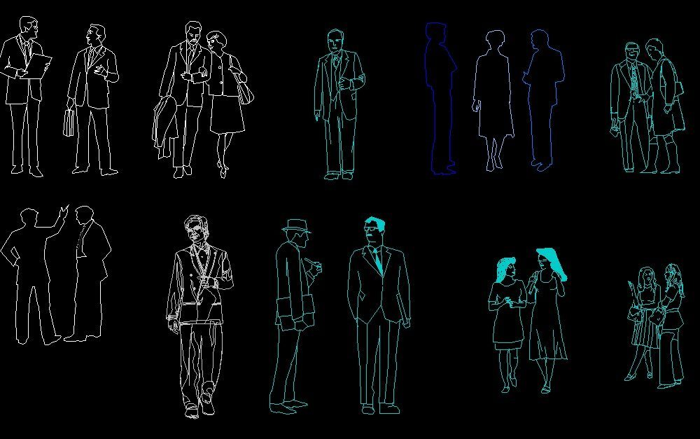 Front Elevation Autocad 2d : People men and women human figures front side