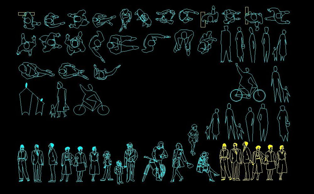 People Human Figures Men And Women Elevation And Plan 2d