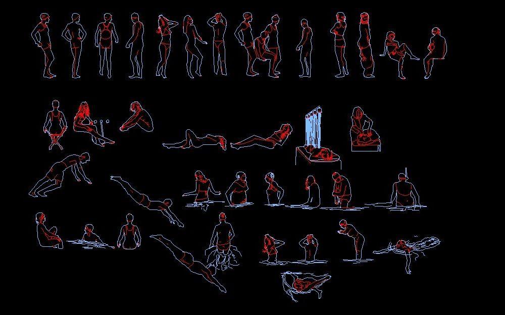 Men And Women Swimming Sports Human Figure Elevation 2d