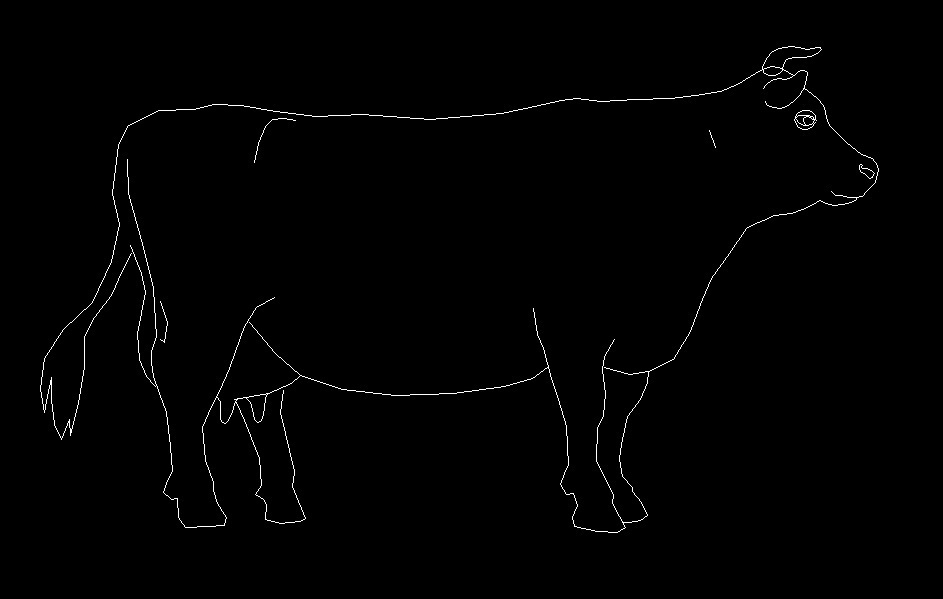 Cow Animal Standing Side View Elevation 2d Dwg Block For